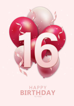 Happy 16th birthday with realistic red and rosegold balloons on light rose background. Set for Birthday, Anniversary, Celebration Party. Vector stock.