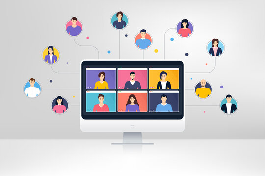 Remote team work from home. Virtual video conference screen. Online home learning. Characters of people work together. Remote conference or virtual meeting. Freelance human resources. Learning vector