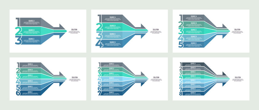Business infographic. Arrow chart with 3, 4, 5, 6, 7, 8 options. Vector template.