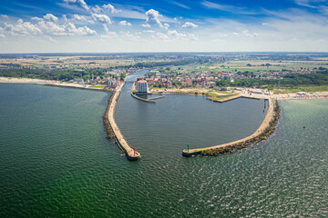 Entrance to the port in Darlowek, Baltic Sea, aerial view