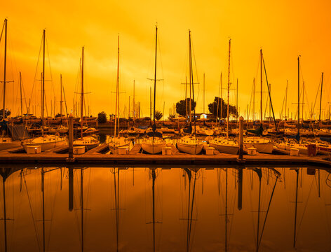 Hazy orange skies hang over the Yacht Club in San Mateo, California on Wednesday  September 9, 2020 around noon time.  This is the result of wildfires burning all around California.