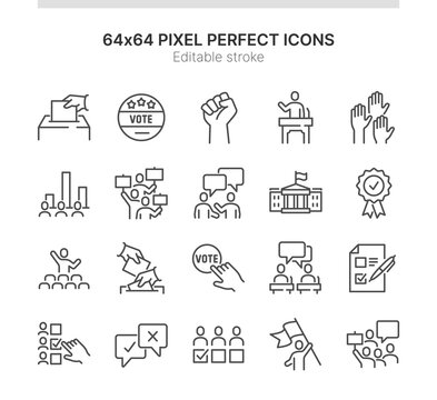 Simple Set of Icons Related to Elections. Contains such icons as Demonstration, Public Speech, Voting and more. Lined Style. 64x64 Pixel Perfect. Editable Stroke.