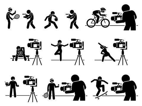 Social media sports, diet, and fitness influencers Internet video content creator pictogram. Vector illustrations of man and woman creating video by teaching sports, gym workout, and healthy eating.