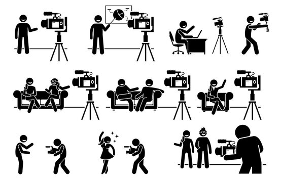 Social media influencers and Internet video content creator stick figure pictogram. Vector illustrations of man and woman creating video by talking, explaining, and promoting business and lifestyle.