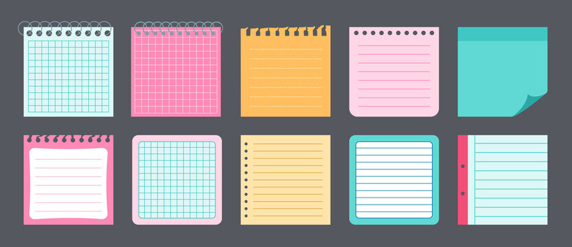 Paper stickers note flat set. Notebook collection notepads and memo messages. Blank notes with elements of planning. Various tag business office. Isolated vector illustration