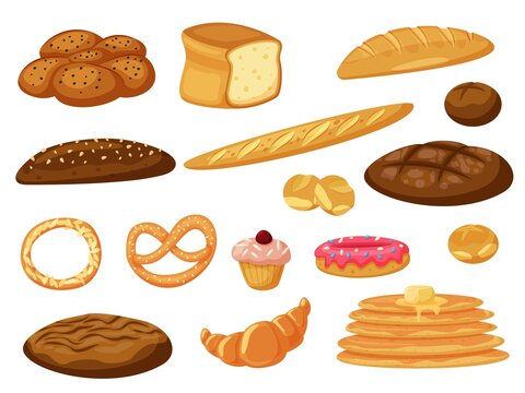Vector bread. Fresh baked bread and pancakes, buns pastry vector icon isolated set on white. Bakery product assortment different type and taste illustration. Baking foodstuff collection