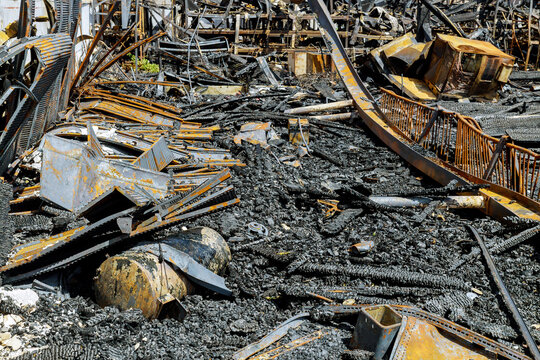 Post woolsey fire in near residential buildings fire burnt landscape in California