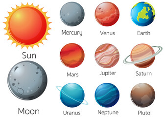 Printed kitchen splashbacks Kids Solar System in the galaxy