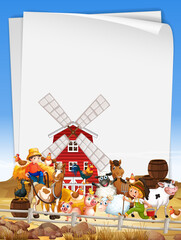 Blank paper in organic farm with animal farm set