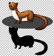 Weasel cartoon character with its silhouette