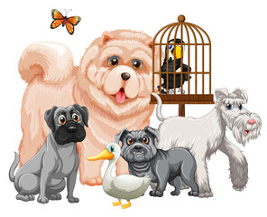 Group of cute animals cartoon character isolated