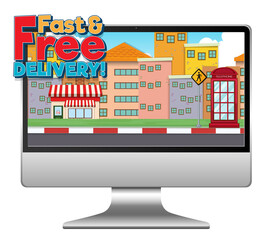 Computer with fast and free delivery logo