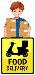 Food delivery logo with delivery man or courier