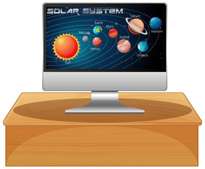 Computer with solar system on screen