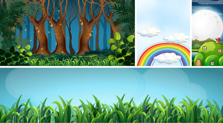 Six different scene of fantasy world with fantasy places such as night forest and blank sky with rainbow and ant nest