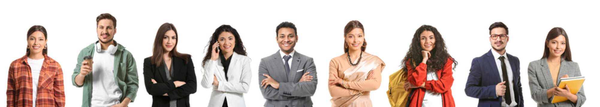 Collage with young Indian people on white background
