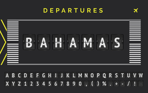 Analog scoreboard with airport runway markup style vector banner with Bagamas as destination. Flight flip font with airplane icon illustration