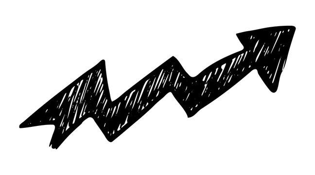 Black hand drawn arrow