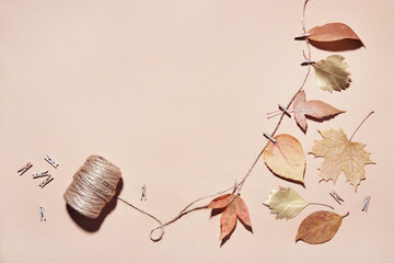 DIY garland of dry autumn leaves. Making decorations from natural materials, copy space