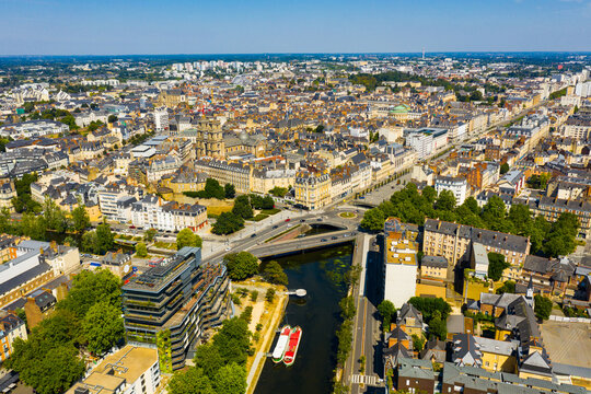 Scenic view of the city of Rennes in the Brittany region. France