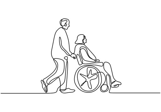 Continuous one line drawing of a young man pushing wheelchair with disabled old woman. Helping elderly, disable people and sick people. Humanity concept minimalist style. Vector illustration