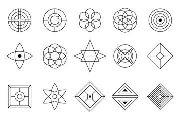 Set of vector design elements, isolated on white background. Sacred geometry. Geometric symmetrical shapes. Alchemy, religion, philosophy, spirituality, hipster symbols and elements. Fotobehang