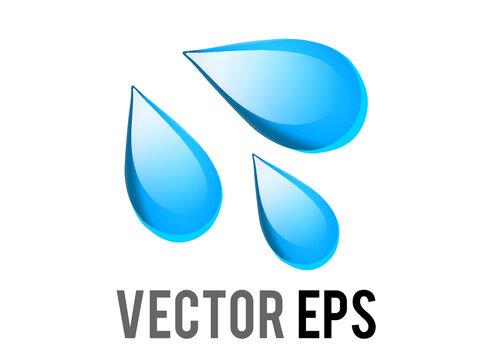 Vector three light blue droplets emoji icon, as sweat beads, splashing down to right