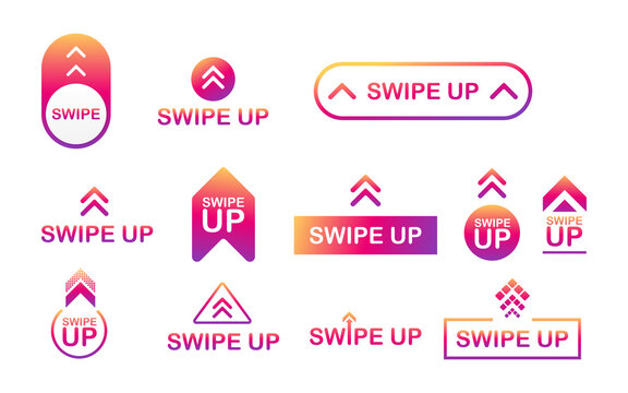 Swipe up icon set isolated on background for stories design. Vector stock illustration
