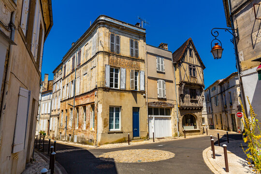 Picturesque view of streets and old houses of Cognac town in Charente department, southwestern France