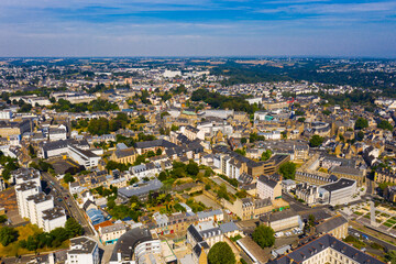 Aerial view of Saint-Brieuc city in Brittany region of northwest France