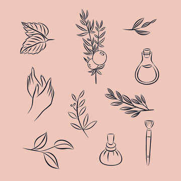 Wellness beauty self-care vector symbols