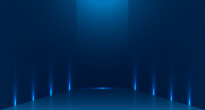 Blue empty room studio used for background and display of content design. banner for advertise product on website. Illustration design.