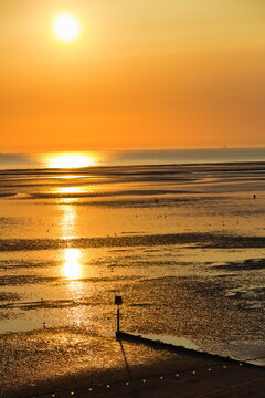 Humber Estuary at sunrise showing the beach area as the tide is out.