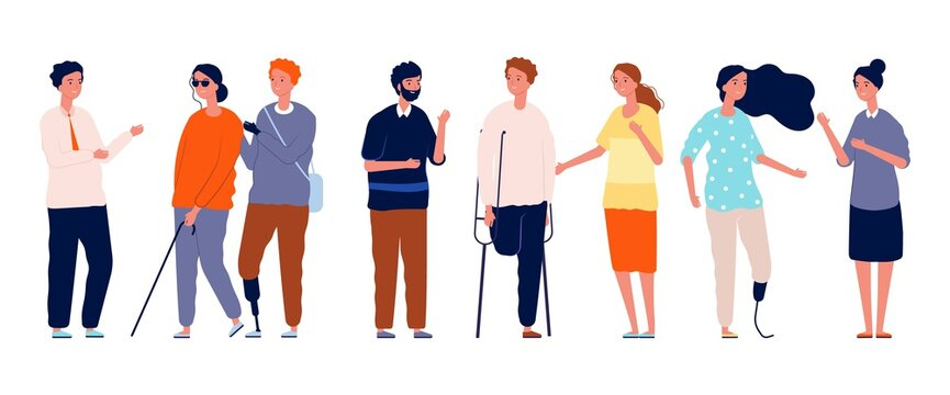 People together. Different person characters, socialization of disabled man woman. Crowd friends vector concept. Illustration disability and handicapped society