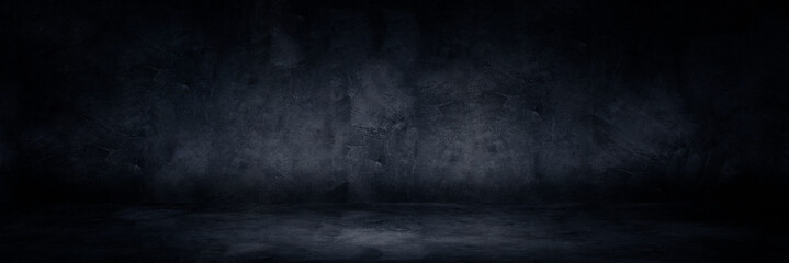 Empty space studio dark room of Plaster concrete grunge texture background for use display product.