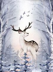 Watercolor winter forest animals deer with fawn, o Wild forest animals card. Hand painted winter illustration