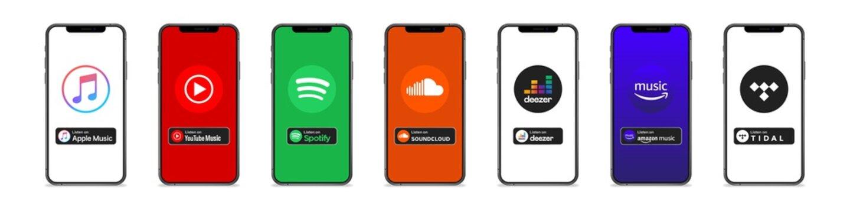 Apple music, spotify, youtube music, soundcloud, deezer, tidal, amazon music. - Popular Music streaming services logo. Editorial vector illustration. Vinnitsa, Ukraine - September 14, 2020