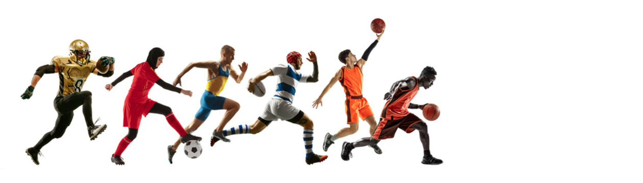 Sport collage of professional athletes or players isolated on white background, flyer. Made of different photos of 6 models. Concept of motion, action, power, target and achievements, healthy, active