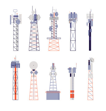 Wireless towers. Satellite communication, isolated radio aerial or cellular equipment. Antenna, telephone signal station vector illustration. Antenna radio, communication equipment aerial wireless