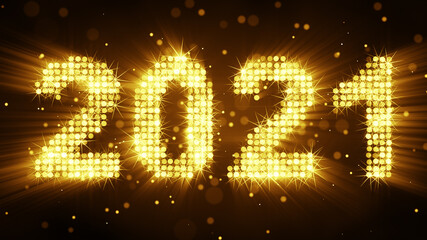 New year 2021 greetings glow yellow particles 3D render illustration