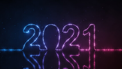 Text 2021 made from neon string lights 3D render