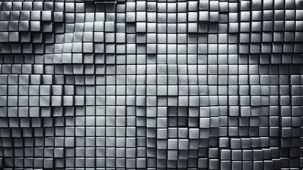 Gray geometric background with metallic cubes 3D rendering illustration
