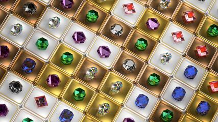 Various gemstones 3D render illustration