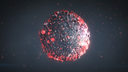 Group of gray and glowing red balls float 3D rendering illustration