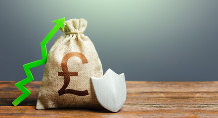 British pound sterling money bag with a shield and a green arrow up. Increasing maximum amount of guaranteed deposits insurance compensation. Safety security of investments, financial system stability