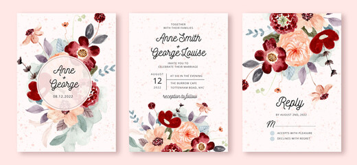 wedding invitation set with red peach flower watercolor Wall mural