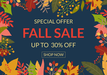 Autumn sale banner or poster. Fall season background design with leaves frame or border. Price off template for discount card, fashion, promo or promotion, flyer with colorful foliage. Vector.