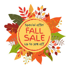Fall sale banner with leaves. Circle frame for Autumn discount. Up to 30 percent Price off badge or tag with Sptember or October foliage. Vector illustration.