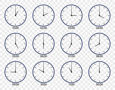Clock icon. Face of watch on wall. Set of different clocks for time. Line icons of hour and minute with morning, noon, afternoon, evening, midnight oclock. 12 hour in day. Symbol of countdown. Vector