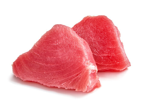 Two slice of raw tuna meat isolated on white background
